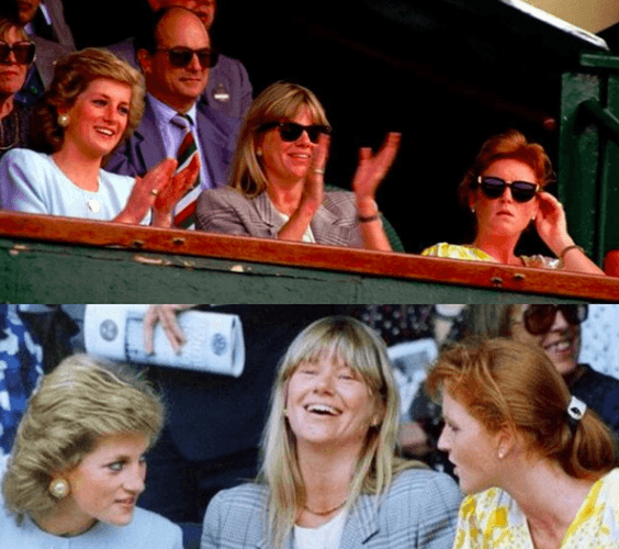Princess Diana, Kate Manzies, and Sarah Ferguson in 1989