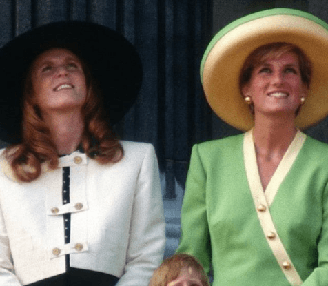 Princess Diana and Duchess Sarah Ferguson in hats