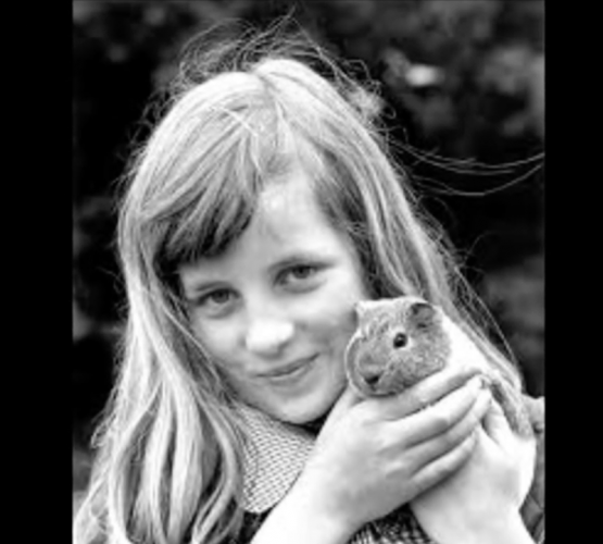 Princess Diana with a childhood pet