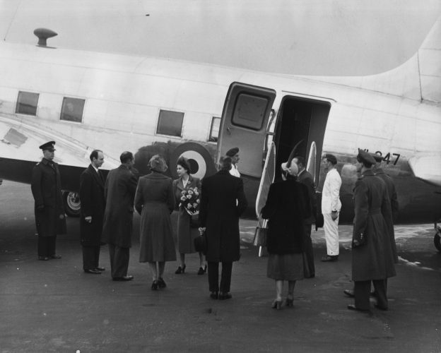 Princess Elizabeth boards the King's Flight for Malta to join Prince Philip