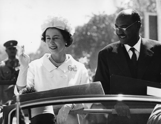 Queen Elizabeth II and President El Tigani El-Mahi on a royal visit to Sudan