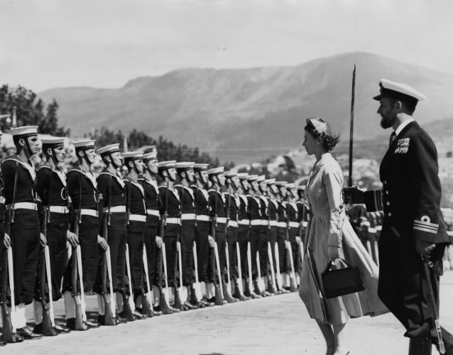 Queen Elizabeth II and the Guard Commander inspect a Guard of Honor at Prince's Wharf, Hobart