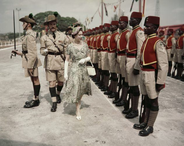 Queen Elizabeth II inspects men of the newly-renamed Queen's Own Nigeria Regiment, Royal West African Frontier Force, at Kaduna Airport, Nigeria