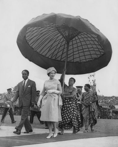 Queen Elizabeth II on her way to the Kumasi Durbah with Kwame Nkrumah, President of Ghana