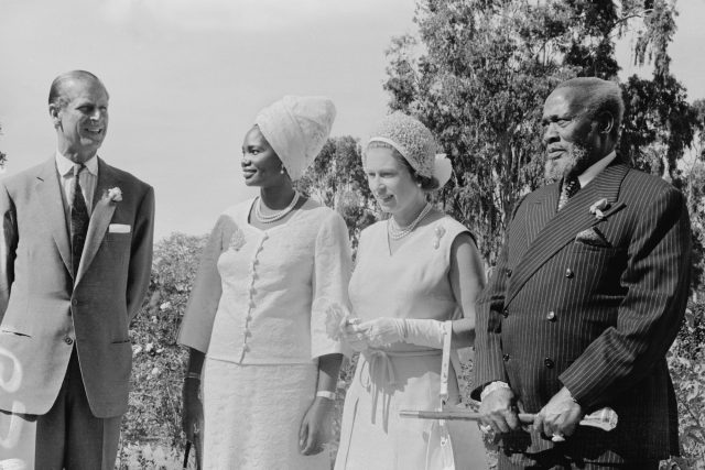 Queen Elizabeth and Prince Philip visit President Jomo Kenyatta and his wife Ngina Kenyatta in Kenya