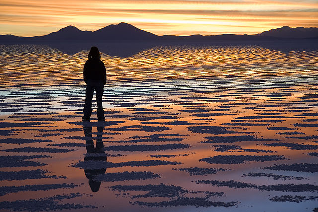 Salar de Uyuni at sunset