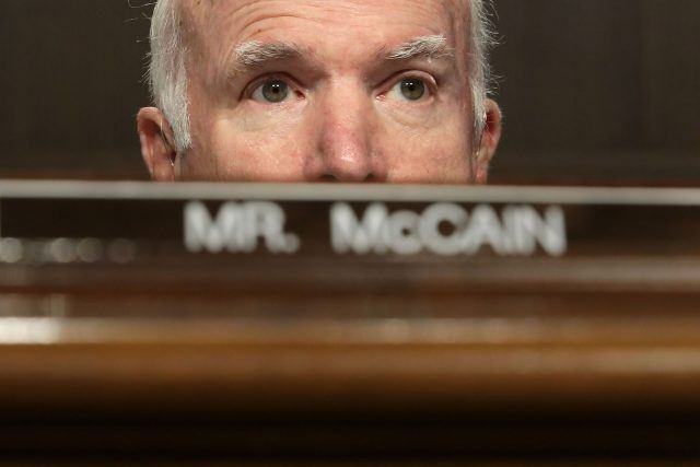 Senate Armed Services Committee Chairman John McCain (R-AZ) (C) leads a confirmation hearing for the secretary of the U.S. Army