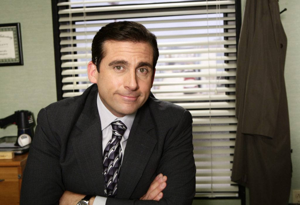 Actor Steve Carell in character as Michael Scott on set of 'The Office'