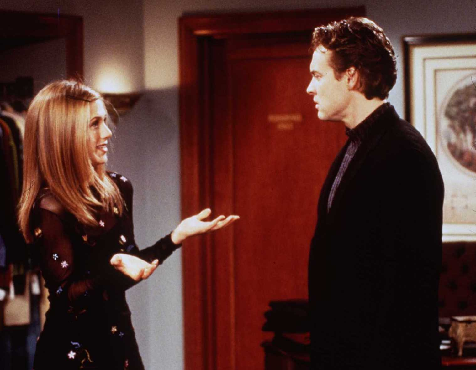 "1997 Jennifer Aniston and Tate Donovan in ""Friends"" (""Rachel's Crush"")."