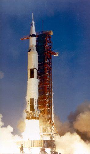 The Apollo 11 lifts off for the first moon landing