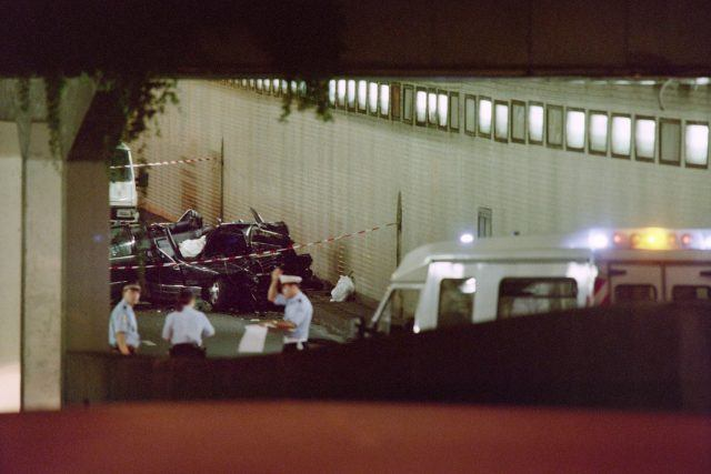 The wreckage of Princess Diana's car lies in a Paris tunnel on August 31, 1997