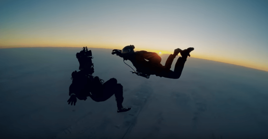 Tom Cruise skydiving in Mission: Impossible - Fallout