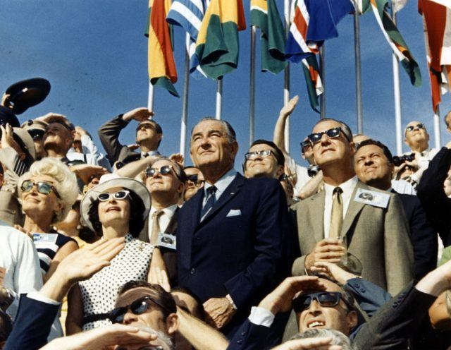 Vice President Spiro Agnew And Former President Lyndon Johnson watch the Apollo 11 launch