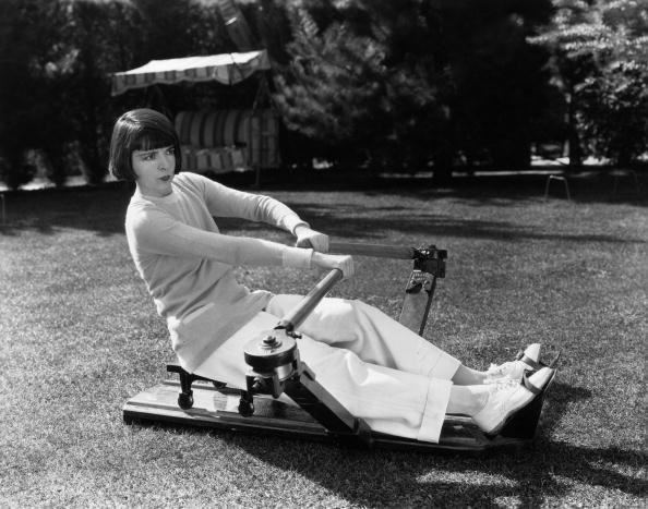 Colleen Moore on a rowing machine
