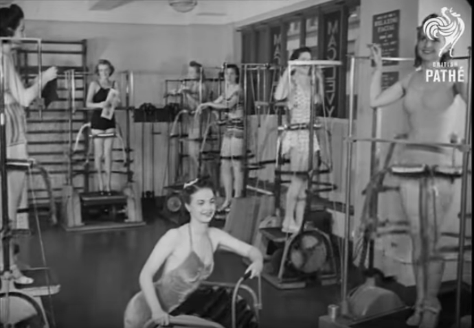Women from the '40s using exercise equipment