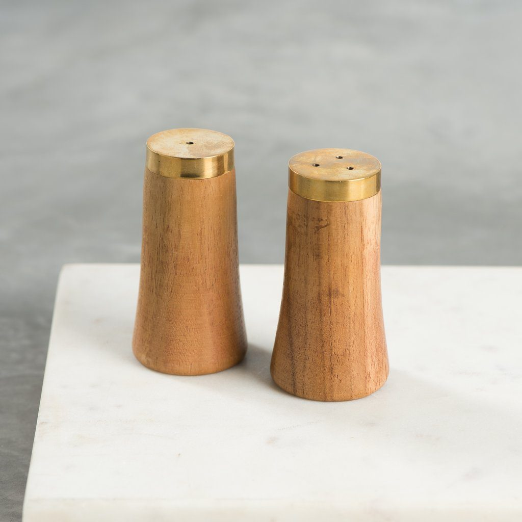 Teak and brass salt and pepper shakers