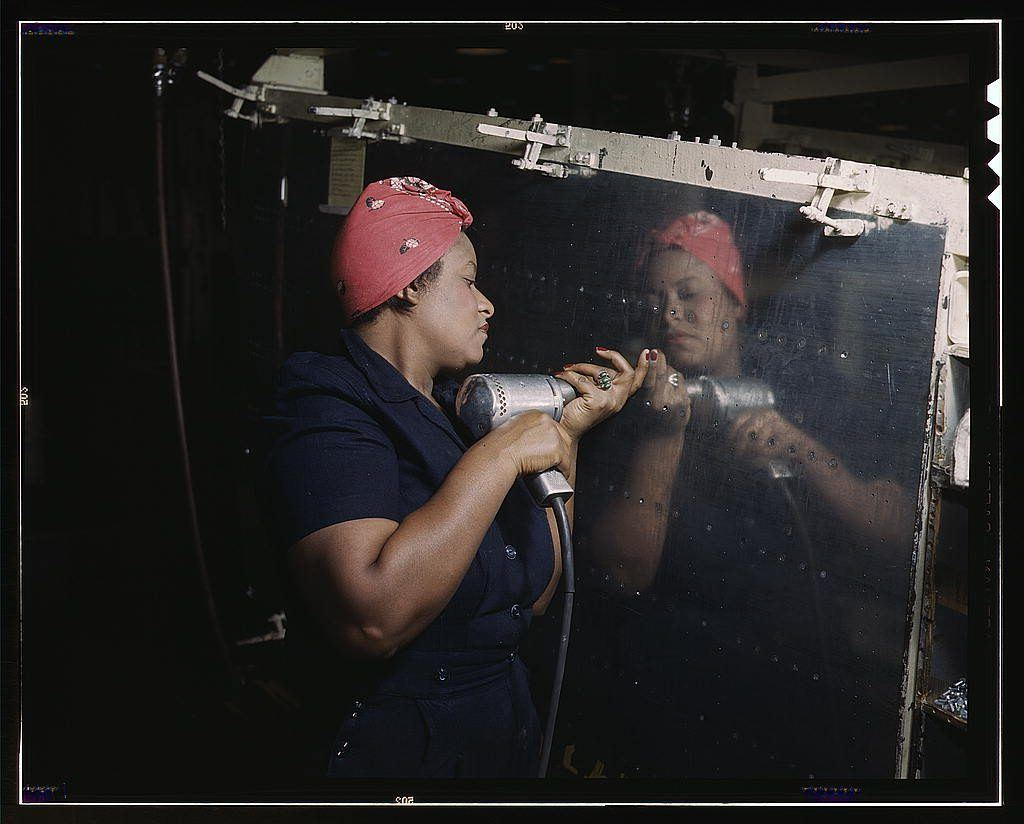 woman building a bomber
