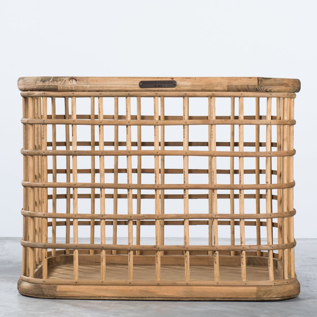 Wood and Bamboo Grid Basket