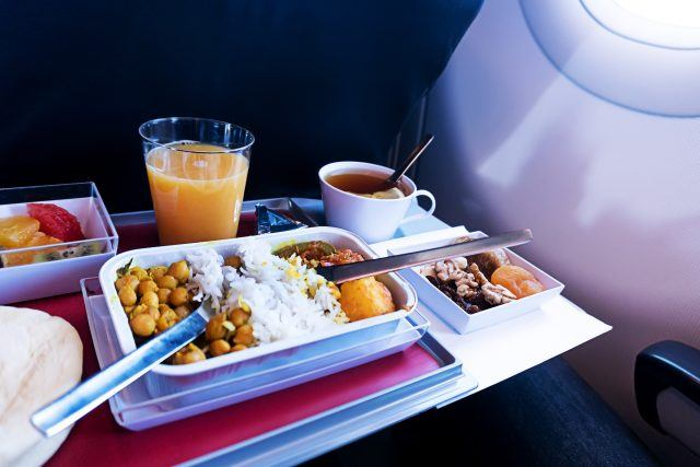 A meal served during a flight
