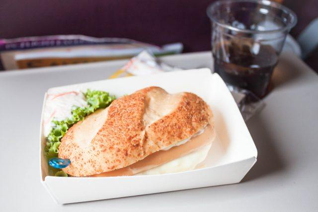 A meal served on a plane