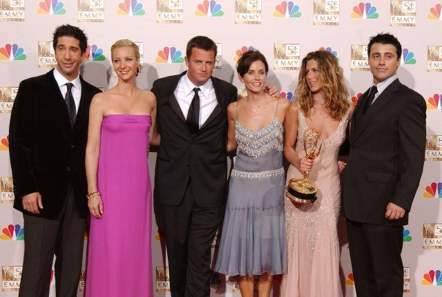 Actors David Schwimmer, Lisa Kudrow, Matthew Perry, Courteney Cox Arquette, Jennifer Aniston and Matt LeBlanc pose backstage during the 54th Annual Primetime Emmy Awards