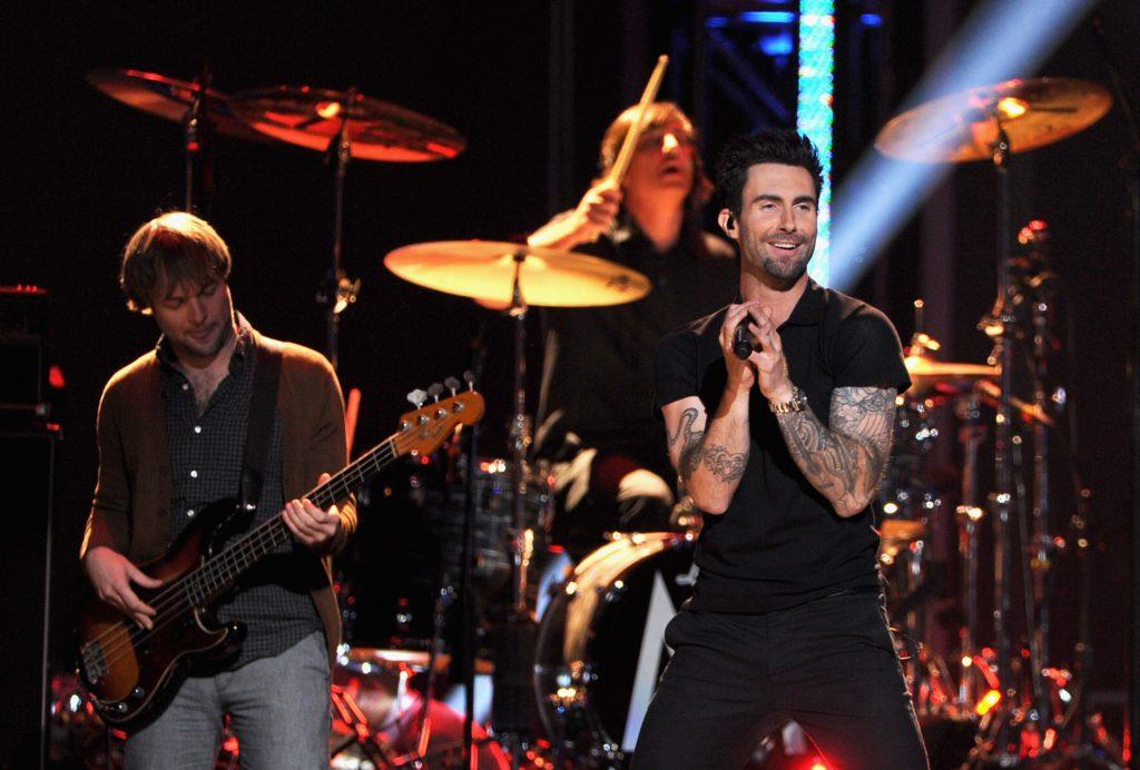 Adam Levine and bassist Mickey Madden of Maroon 5 perform onstage at The Grammy Nominations Concert Live