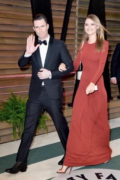 Adam Levine (L) and model Behati Prinsloo