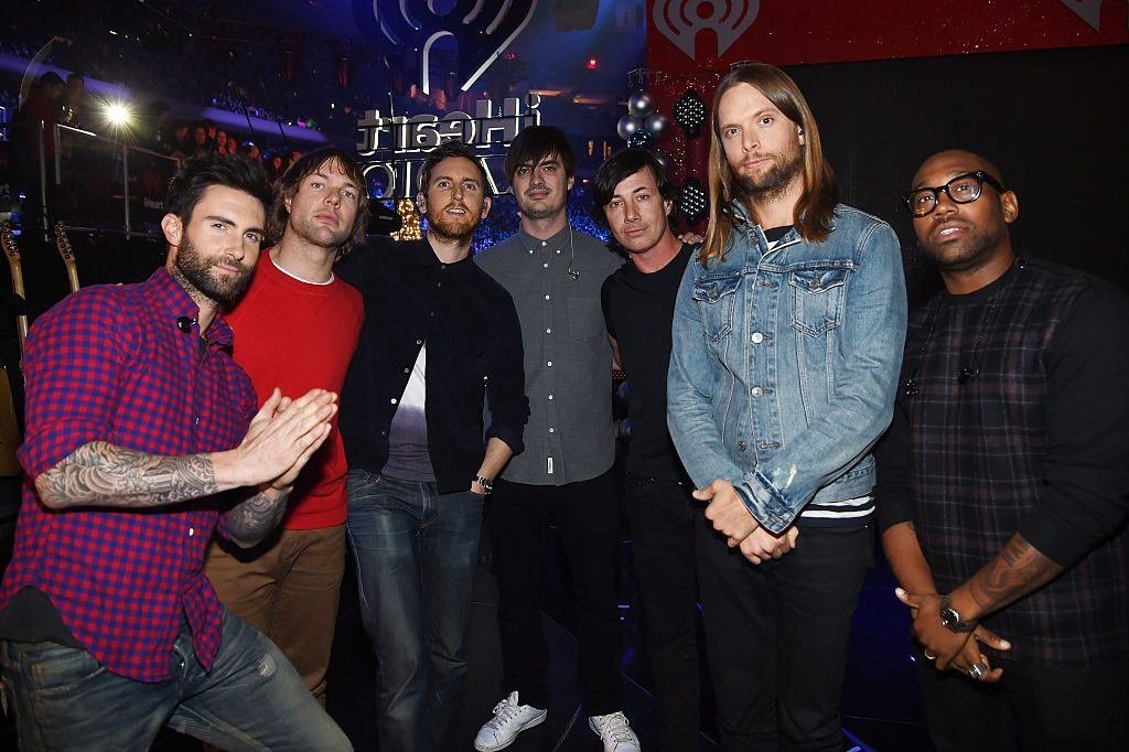 Maroon 5 poses backstage at iHeartRadio Jingle Ball 2014