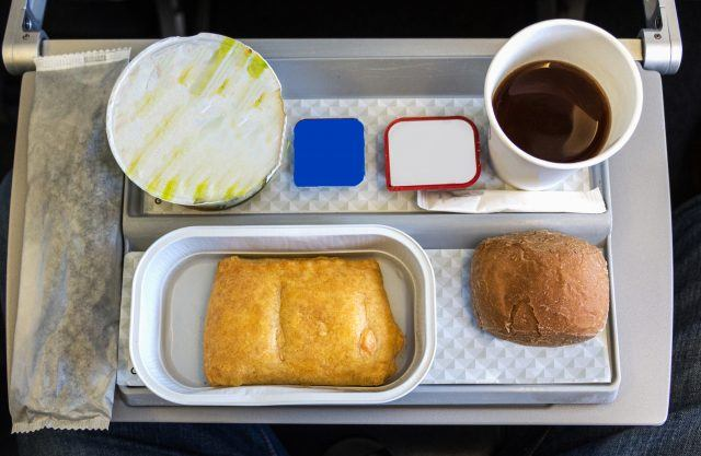 An airline meal that includes yogurt