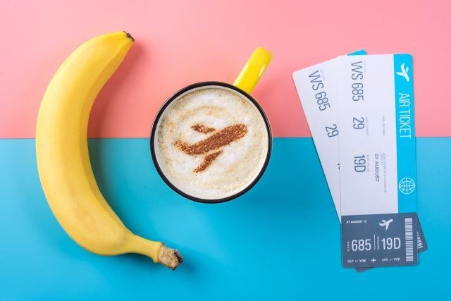 Banana, cappuccino, and airline boarding passes