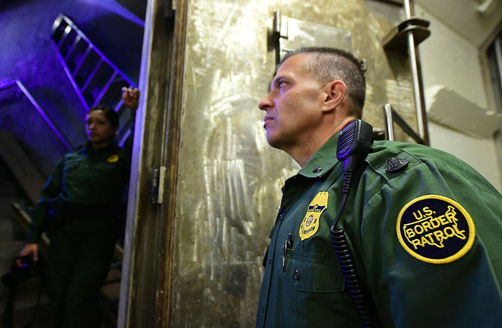 US Border Patrol in an underground drug tunnel