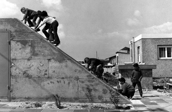 1972: Israeli schoolchildren climb the roof of their bomb shelter some 10 years before it was evacuated