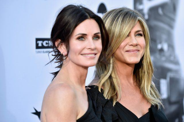 Courteney Cox (L) and Jennifer Aniston attend the American Film Institute's 46th Life Achievement Award Gala Tribute to George Clooney