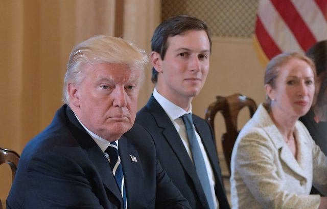 Donald Trump and senior advisor Jared Kushner take part in a meeting