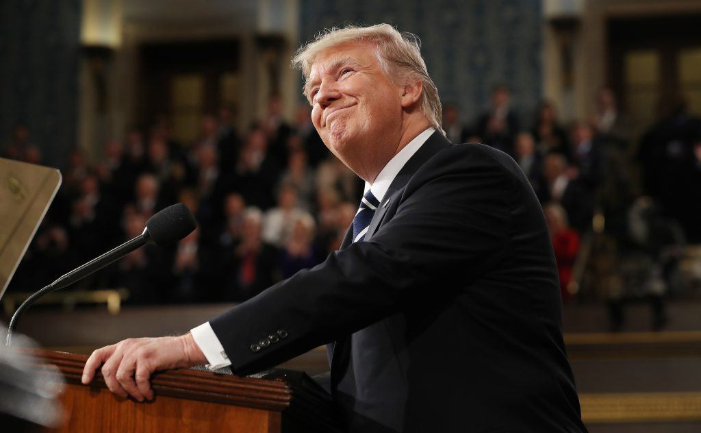 Donald Trump arrives to deliver an address to a joint session of the U.S. Congress