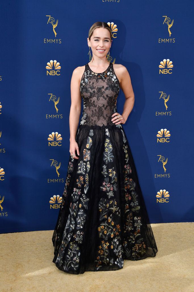 Emilia Clarke walks the red carpet at the Emmys