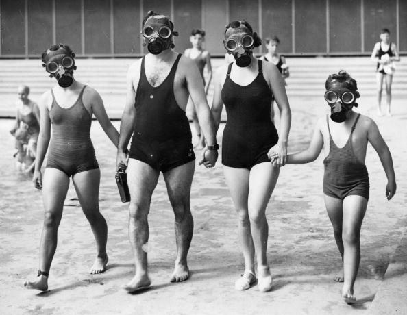 Gas masks at the pool