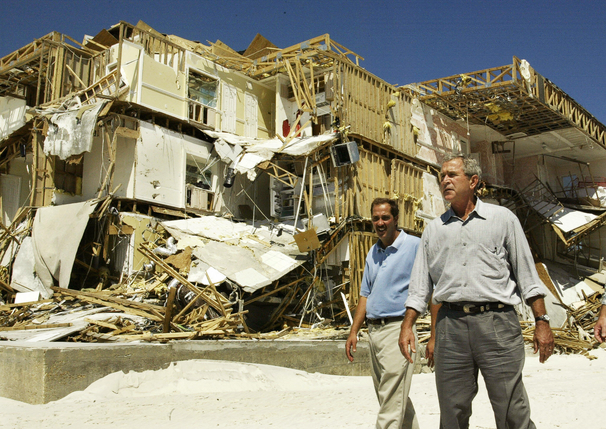 Hurricane Ivan destroys condos in Orange Beach, Alabama.
