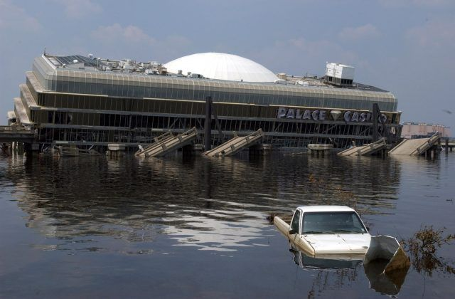 Battered Palace Casino in Biloxi, Miss., after Hurricane Katrina