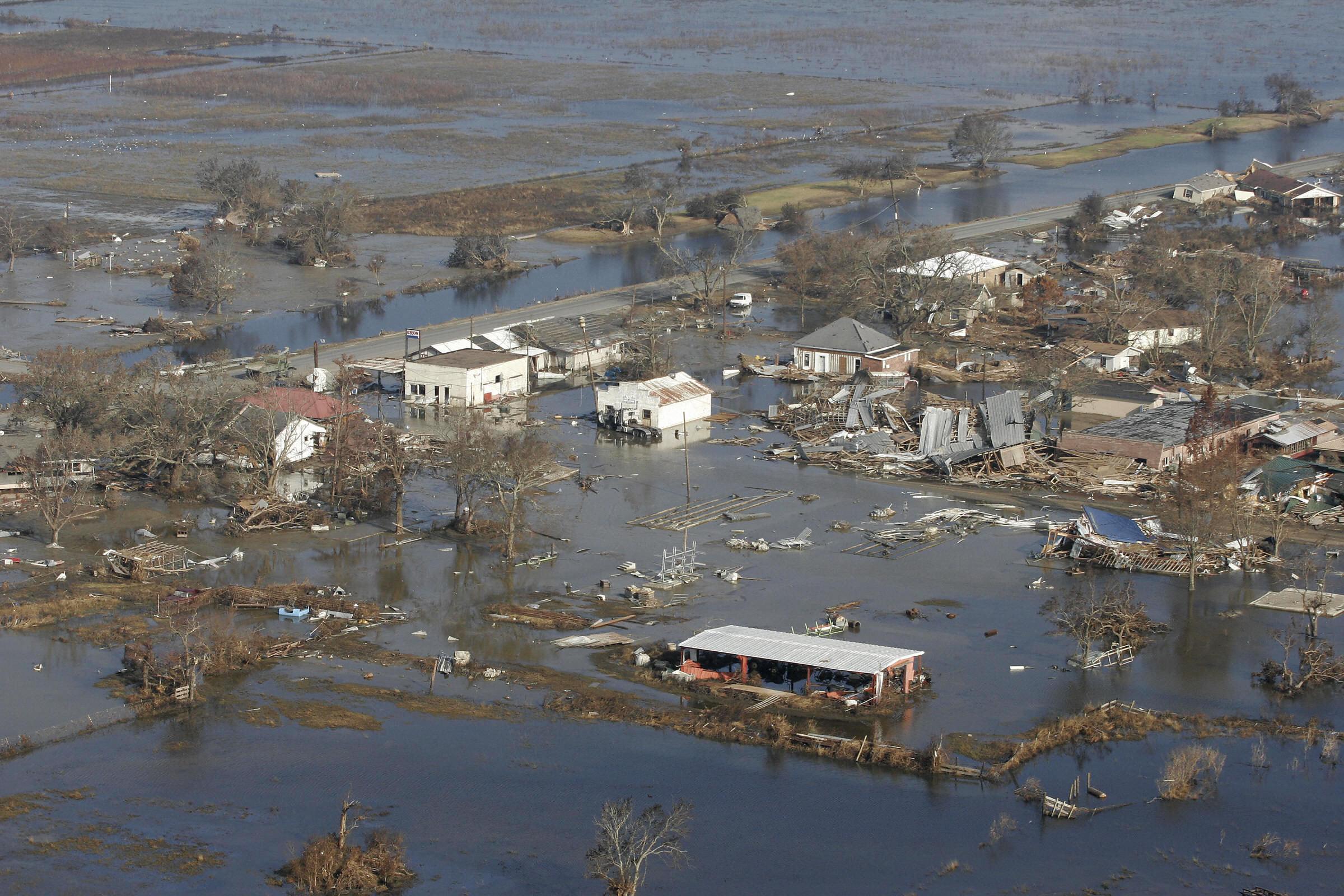 Flood waters in Cameron, La., after Hurricane Rita