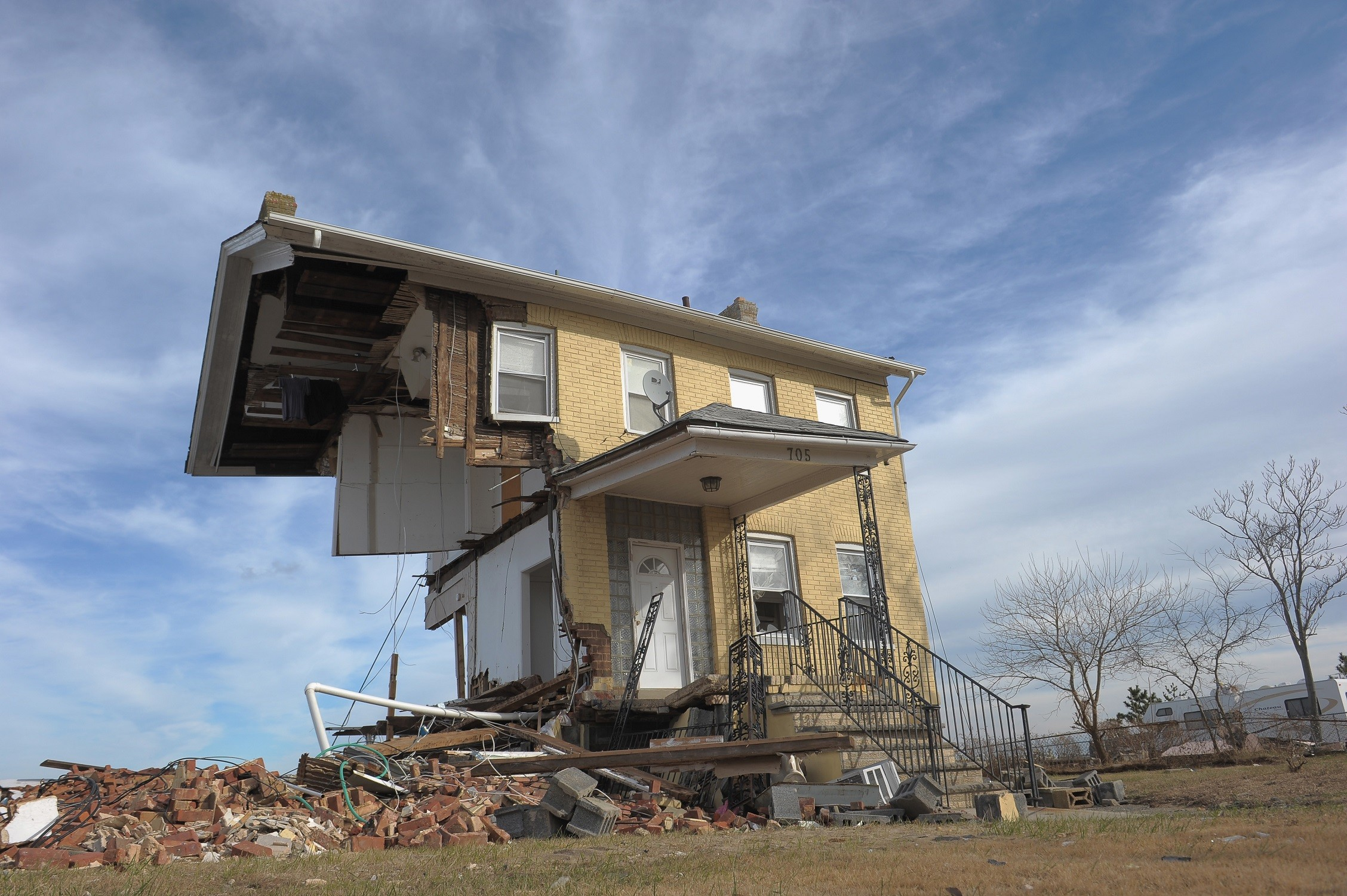 Princess Cottage Inn, Union Beach, N.J., sustains terrible hurricane damage from Sandy in 2017.