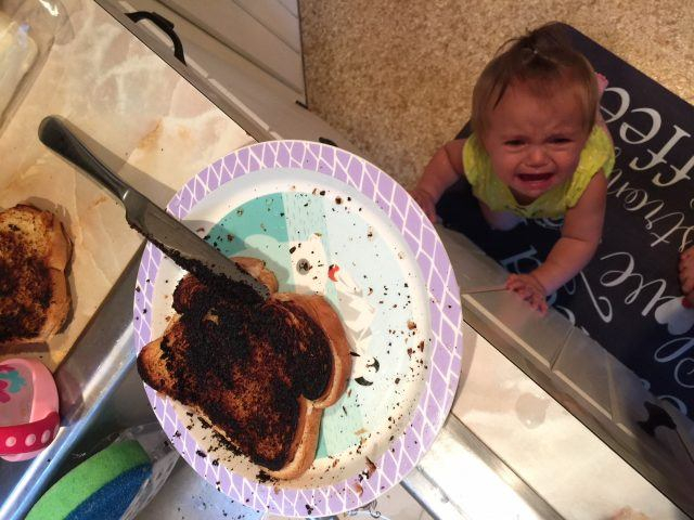 Burnt grilled cheese