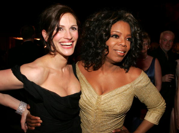 Actress Julia Roberts and television host Oprah Winfrey