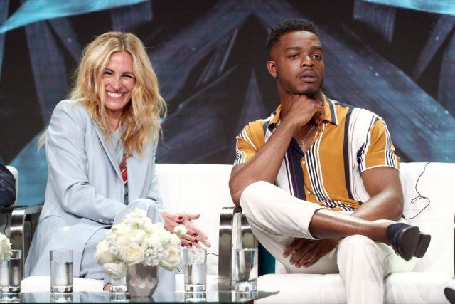 Julia Roberts (L) and Stephan James of 'Homecoming' speak onstage during the Amazon Studios portion of the Summer 2018 TCA Press Tour at The Beverly Hilton Hotel on July 28, 2018 in Beverly Hills, California