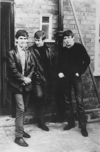 Liverpudlian skiffle beat band The Beatles standing outside Paul's Liverpool home