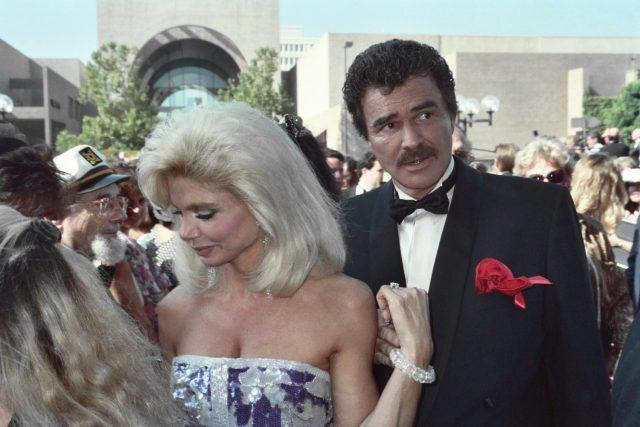Loni Anderson and Burt Reynolds arrive at the 1991 Emmy Awards