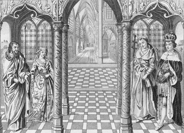 Marriage of Henry VII (1457 - 1509), the first Tudor King of England, to Elizabeth of York (1465 - 1503)
