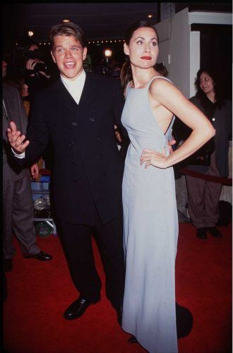 Matt Damon and Minnie Driver at the movie premiere of 'Good Will Hunting.'