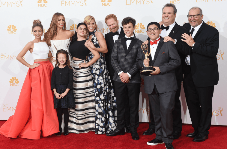 Jesse Tyler Ferguson (middle) and the Modern Family cast.