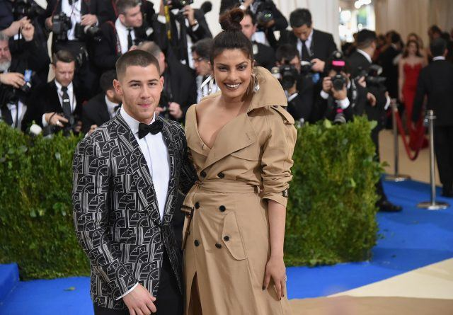 Nick Jonas (L) and Priyanka Chopra attend the 'Rei Kawakubo/Comme des Garcons: Art Of The In-Between' Costume Institute Gala at Metropolitan Museum of Art